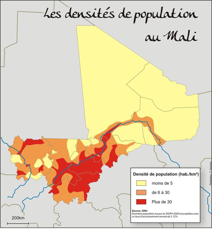 Les densités de population au Mali