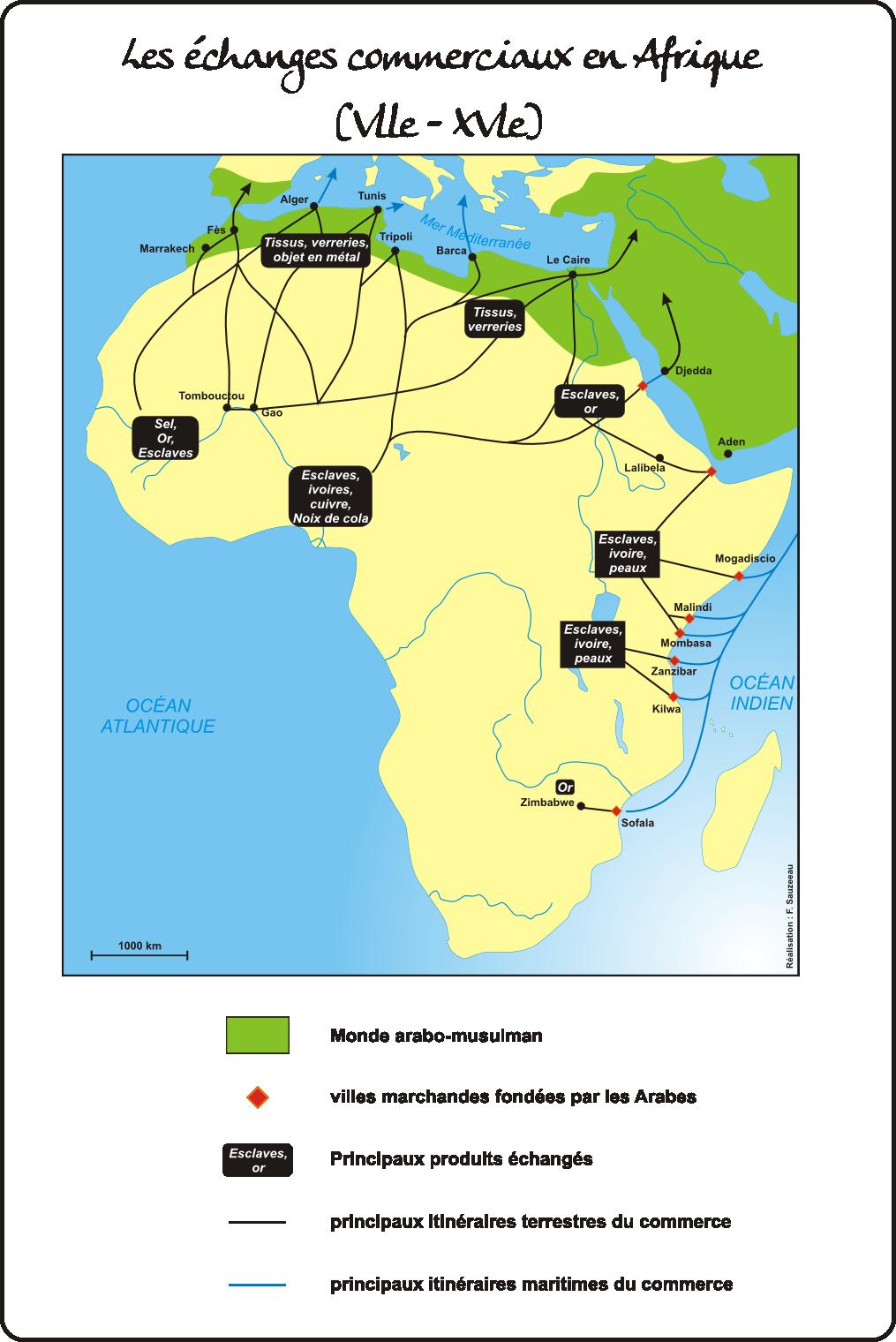 les échanges commerciaux en Afrique (Vlle - XVle siècles)