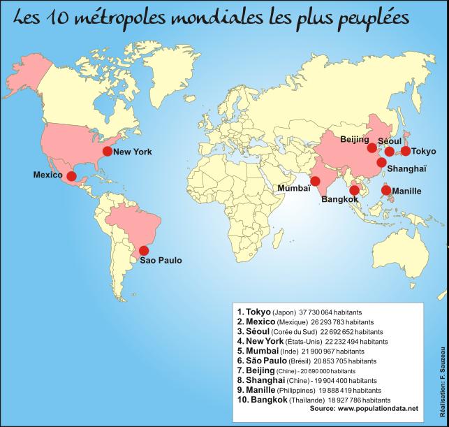Les dix m tropoles mondiales les plus peupl es et les pays for Mondiale fenetre