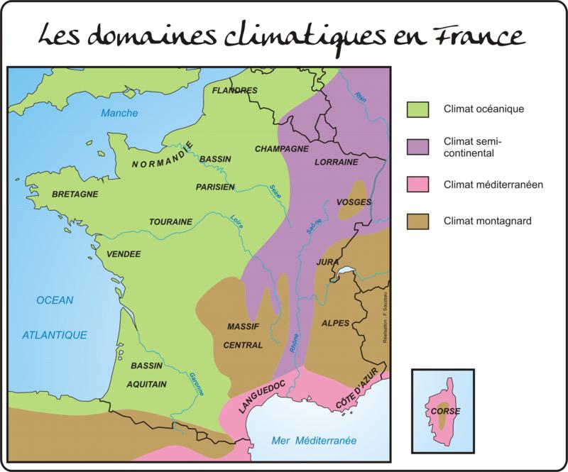 Les domaines climatiques français