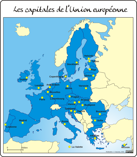 carte europe 28 pays et capitales