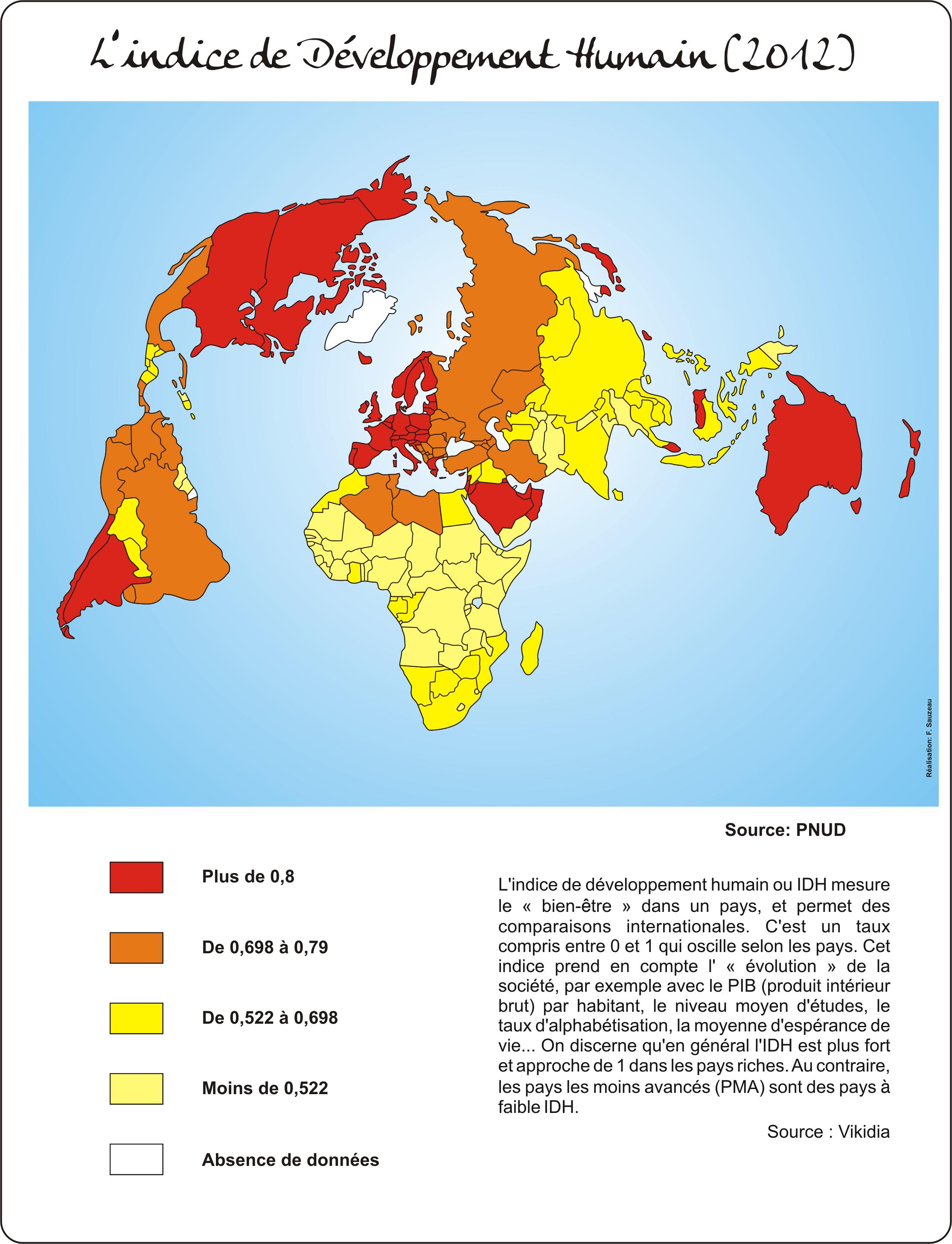 L'IDH dans le monde en 2012