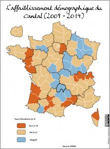 evolution de la population du cantal