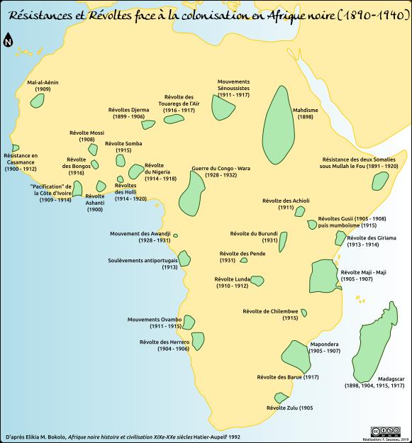 Carte des résistances et des révoltes face à la colonisation en Afrique noire (1890-1940)