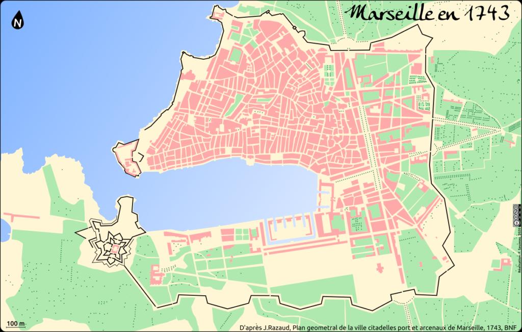 Plan de Marseille en 1743 d'après J.Razaud, Plan geometral de la ville citadelles port et arcenaux de Marseille, 1743, BNF